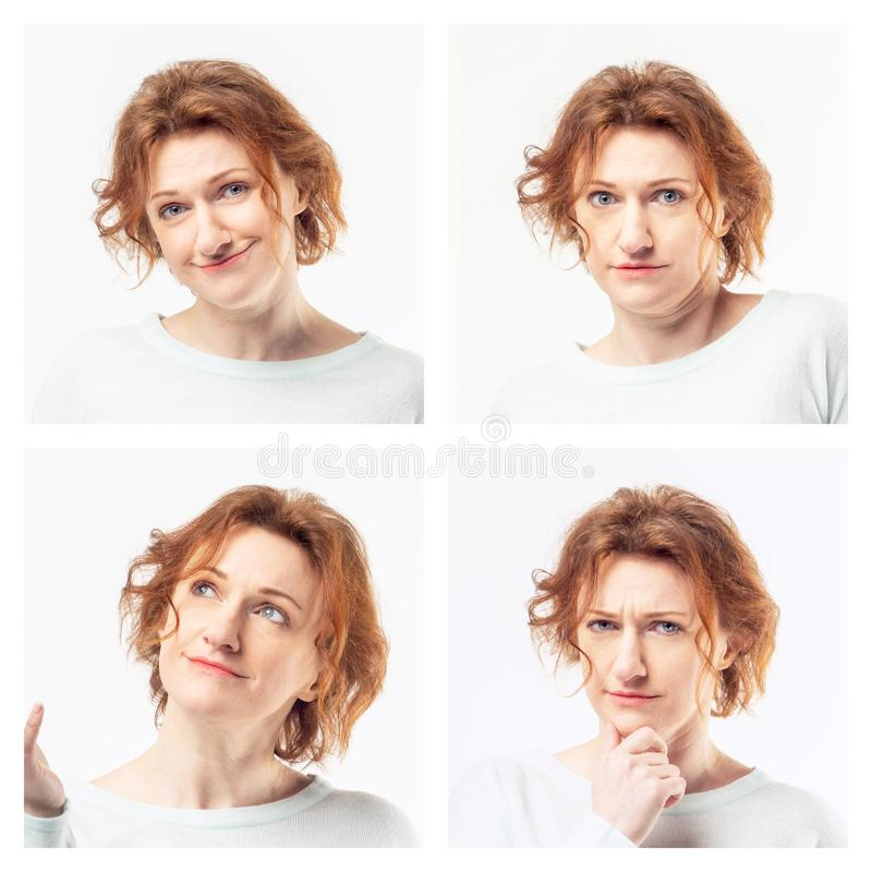 Collage av kvinnan som visar olika sinnesrörelser arkivfoton