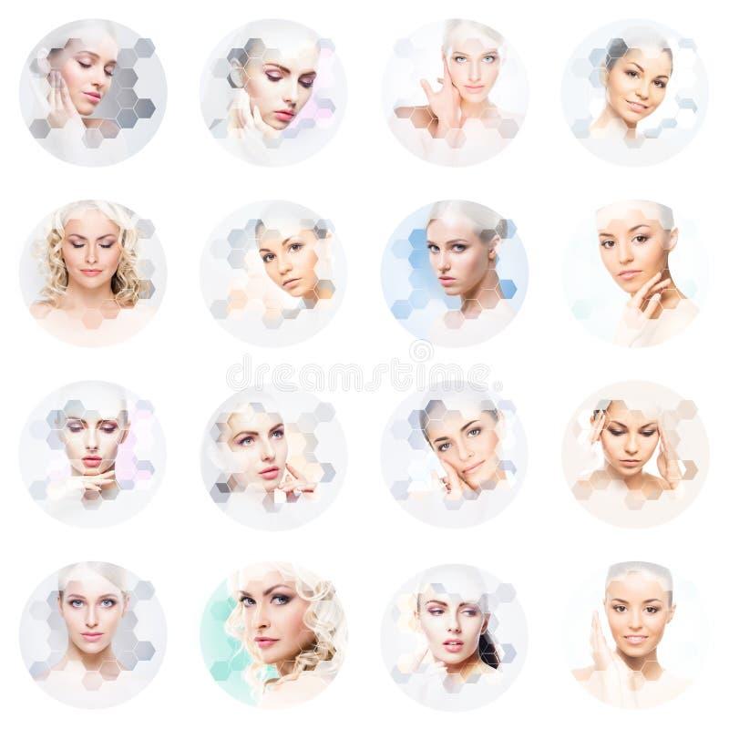 Collage av kvinnliga st?ende Sunda framsidor av unga kvinnor Spa lyfta f?r framsida, plastikkirurgicollagebegrepp arkivbilder