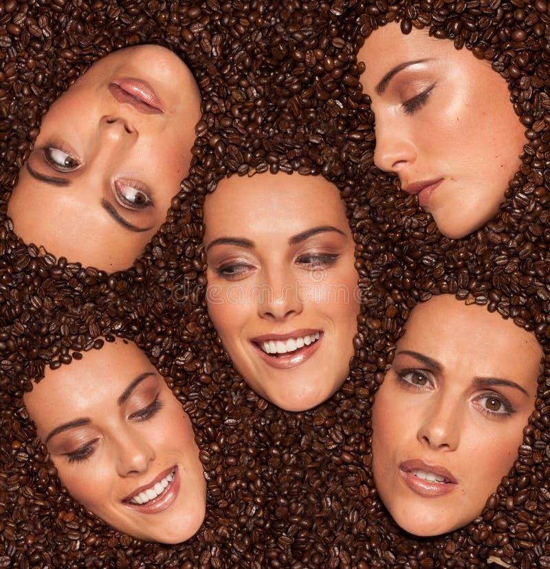Collage av kvinnligansiktsuttryck royaltyfria bilder