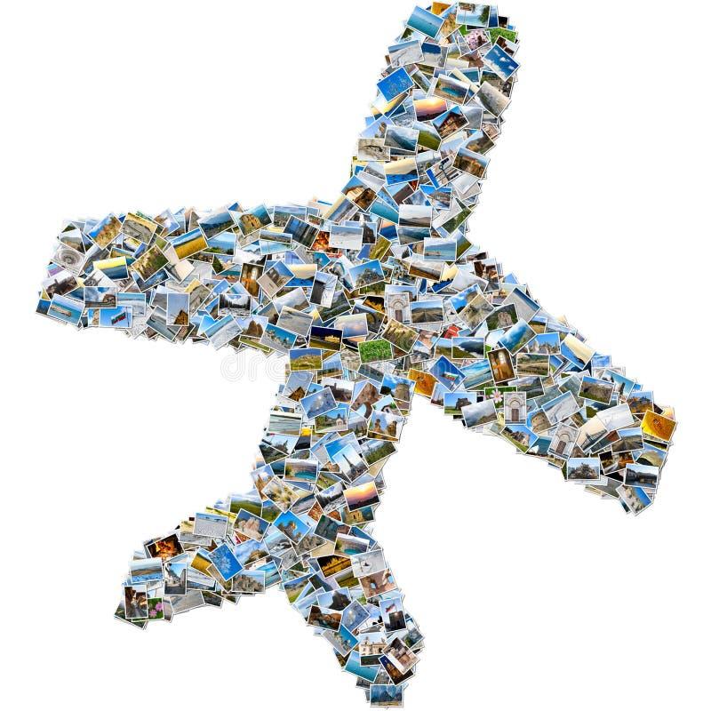 Collage av loppbilder - flygplan arkivfoton