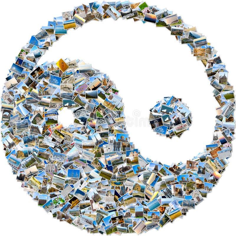Collage av loppet avbildar - in och det yan symbolet royaltyfri foto