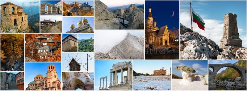 Collage av loppet avbildar - olika gränsmärken av Bulgarien royaltyfri foto