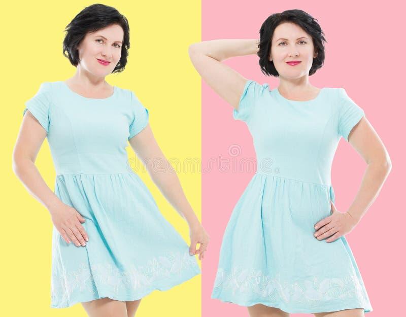 Collage av lyckliga mellersta ålderkvinnor i modeklänning med utgör isolerat kopiera avstånd Shopping- och försäljningsbegrepp arkivbild