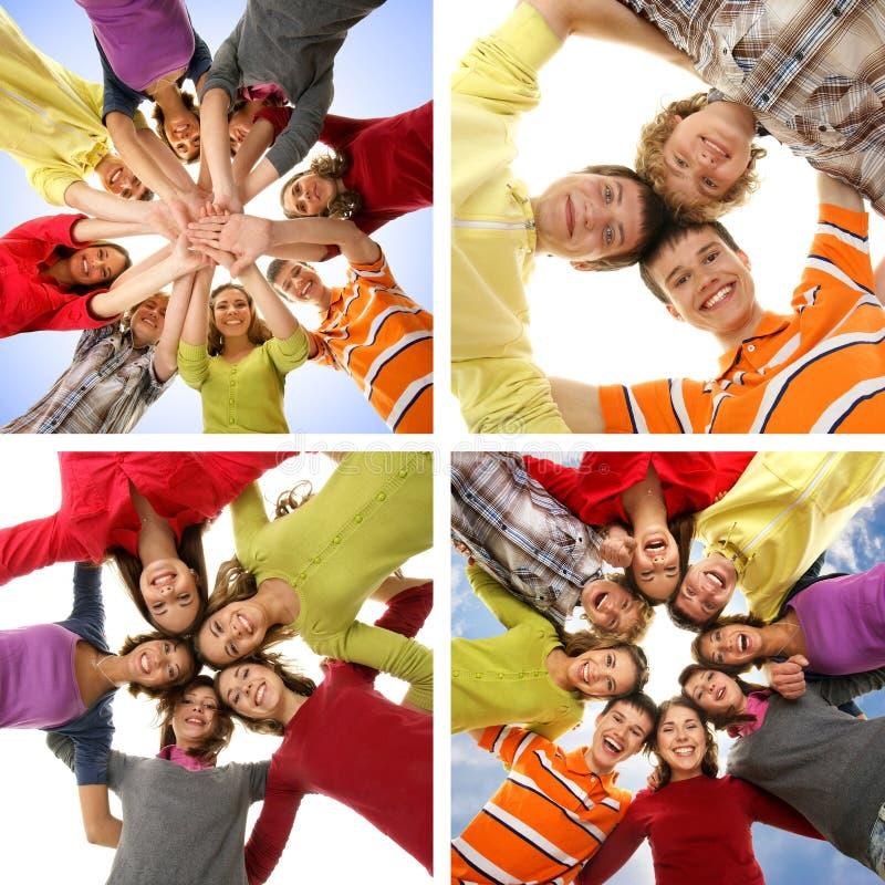 Collage av lyckliga tonåringar som ut tillsammans hänger arkivfoton