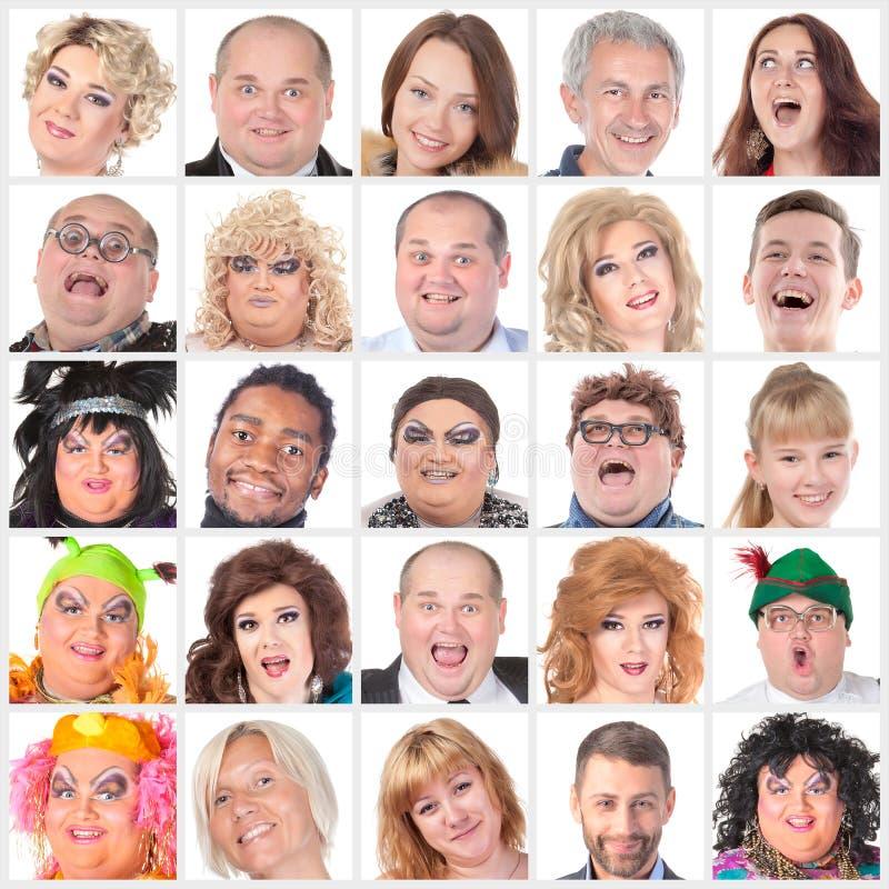 Collage av många olika lyckliga mänskliga framsidor royaltyfri fotografi