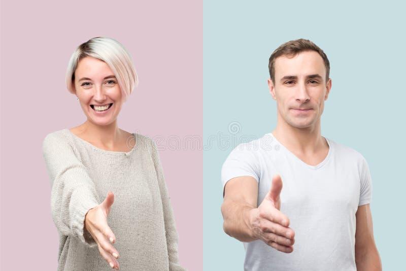 Collage av mannen och kvinnan som ger handen för att skaka royaltyfri bild