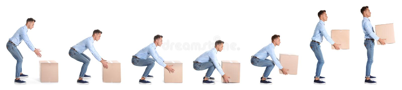 Collage av mannen som lyfter den tunga kartongen på vit bakgrund arkivfoton
