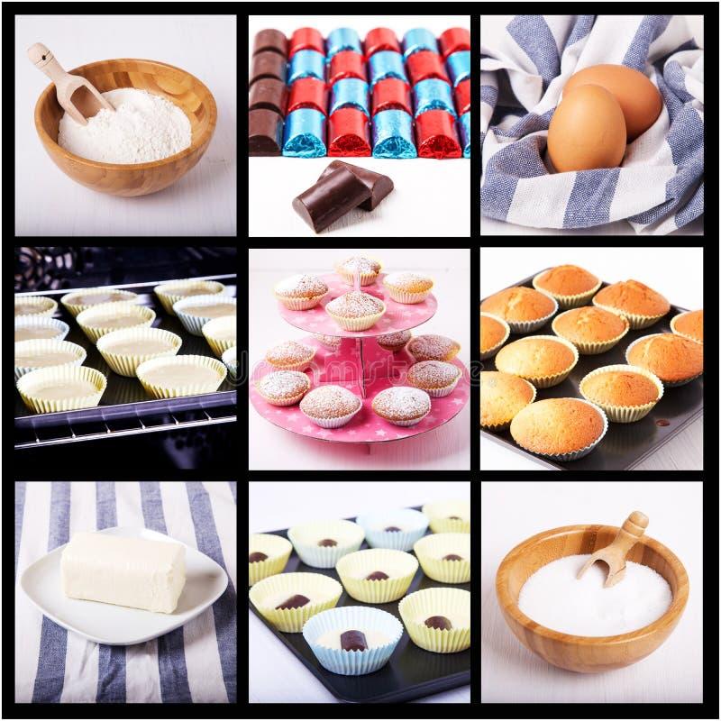 Collage av muffinen royaltyfri fotografi