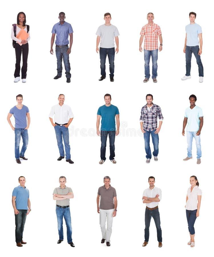 Collage av multietniskt folk i tillfälligt royaltyfri bild