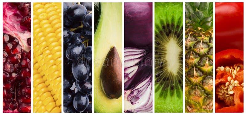 Collage av nya smakliga saftiga frukter och grönsaker royaltyfria bilder