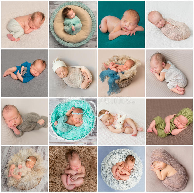Collage av nyfött behandla som ett barn foto fotografering för bildbyråer