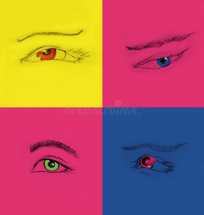 Collage av olik hand som fyra drar ögon royaltyfri fotografi