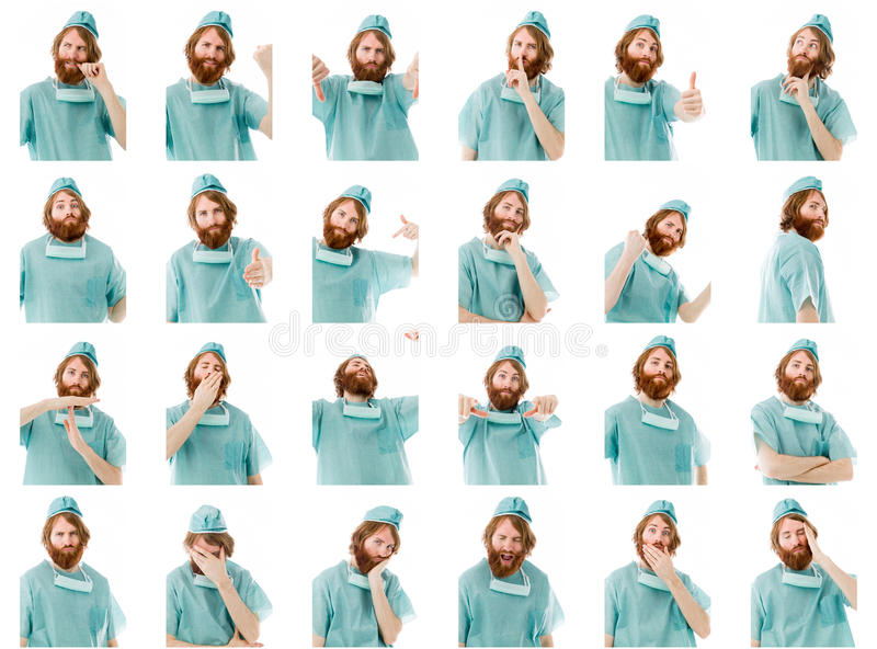 Collage av olika ansiktsuttryck arkivbild
