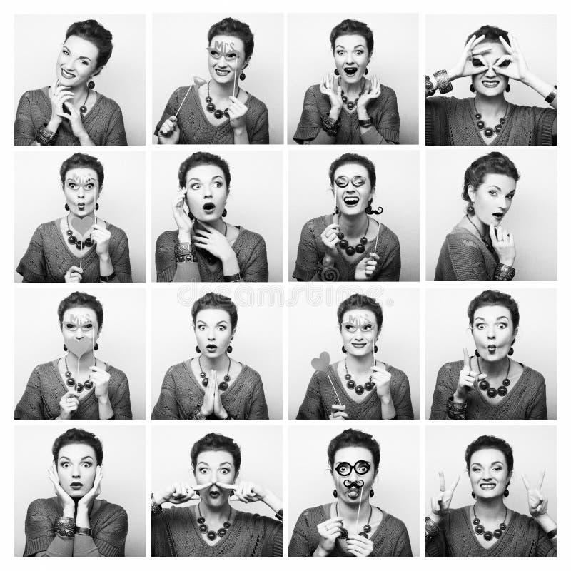 Collage av olika ansiktsuttryck för kvinna royaltyfria foton