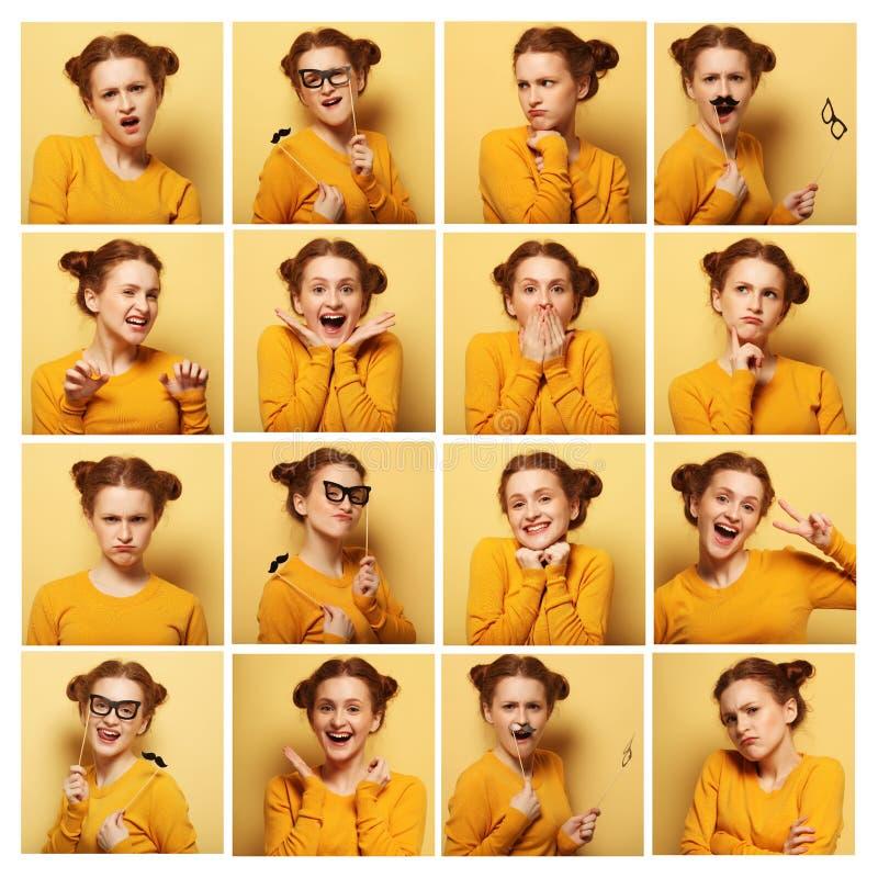 Collage av olika ansiktsuttryck för ung kvinna royaltyfri bild