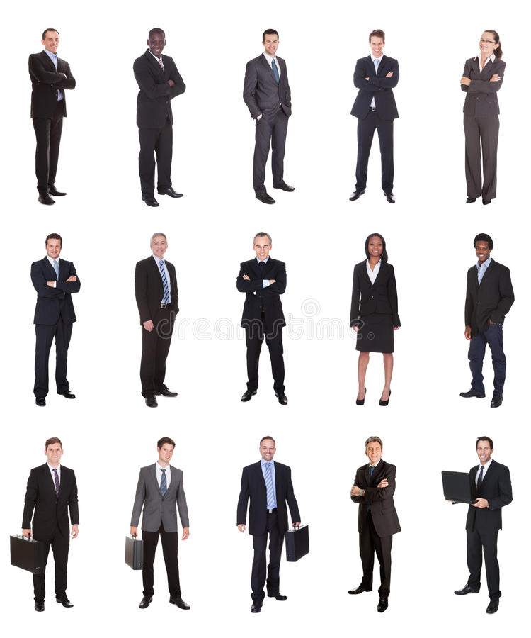 Collage av olika businesspeople royaltyfri foto
