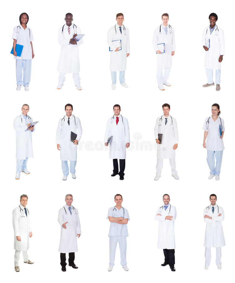 Collage av olika doktorer royaltyfri foto