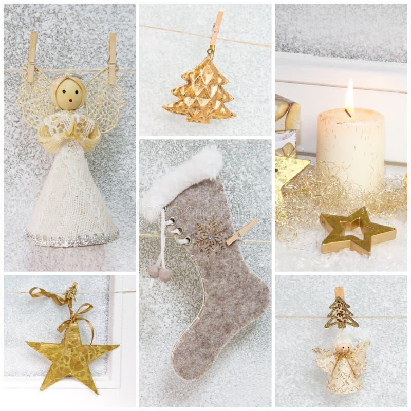 Collage av olika foto för jul - idé för garnering arkivbild