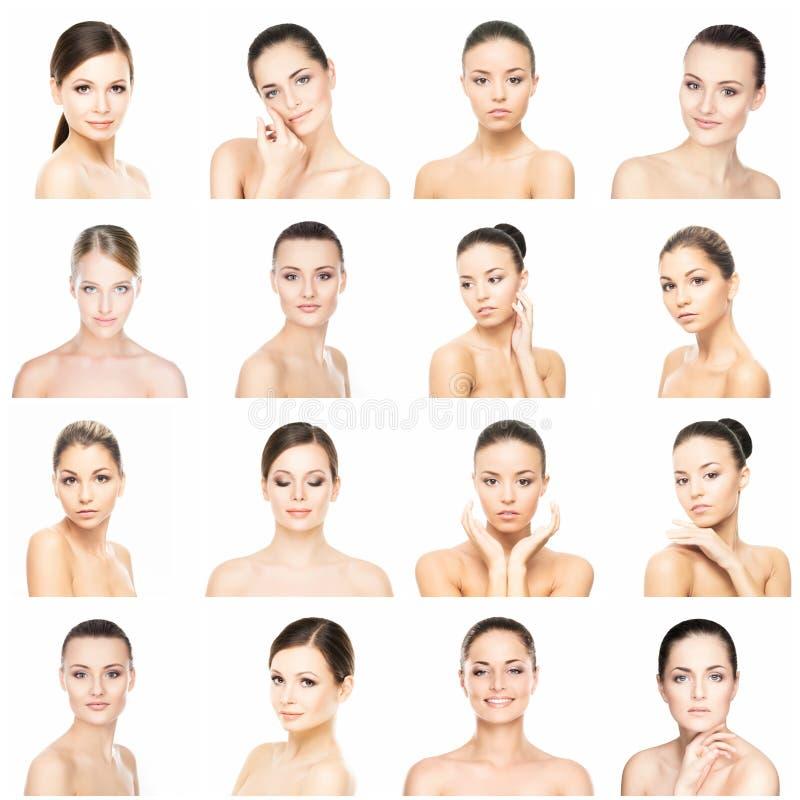 Collage av olika kvinnliga stående Spa lyfta för framsida, plastikkirurgibegrepp royaltyfri fotografi