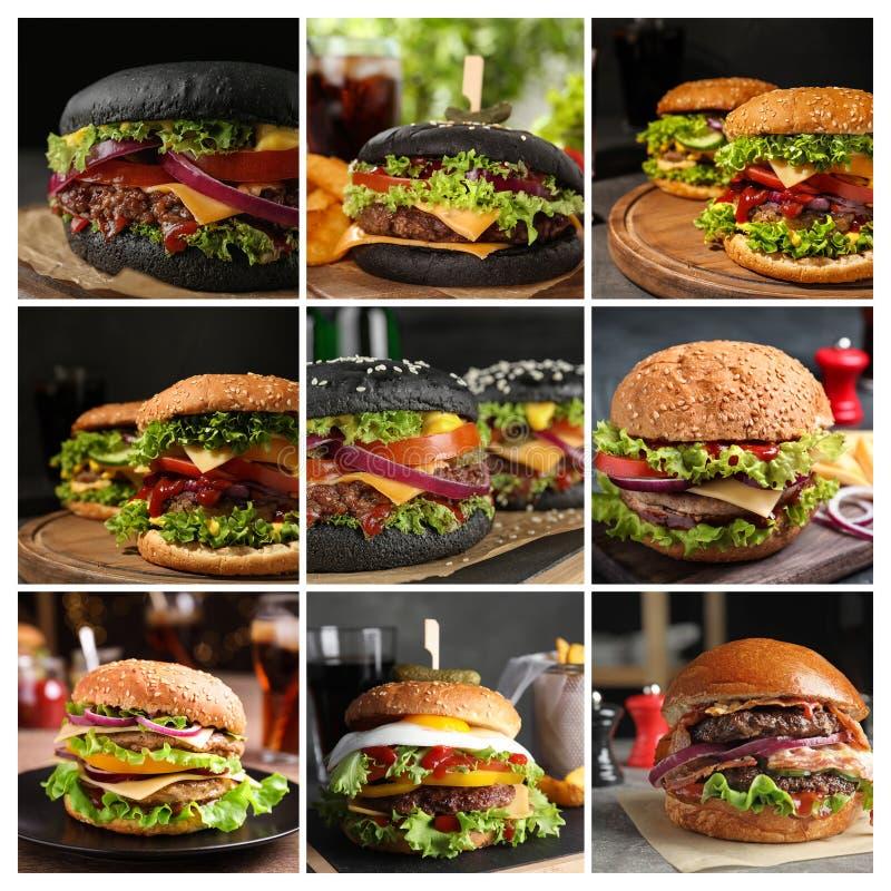Collage av olika l?ckra hamburgare arkivfoto