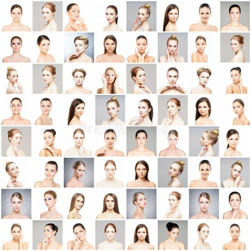 Collage av olika stående av unga kvinnor i makeup royaltyfri fotografi