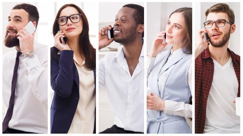 Collage av olikt folk som talar på mobil fotografering för bildbyråer