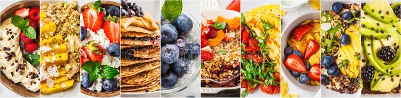 Collage av omväxlande sunda frukostar royaltyfri bild