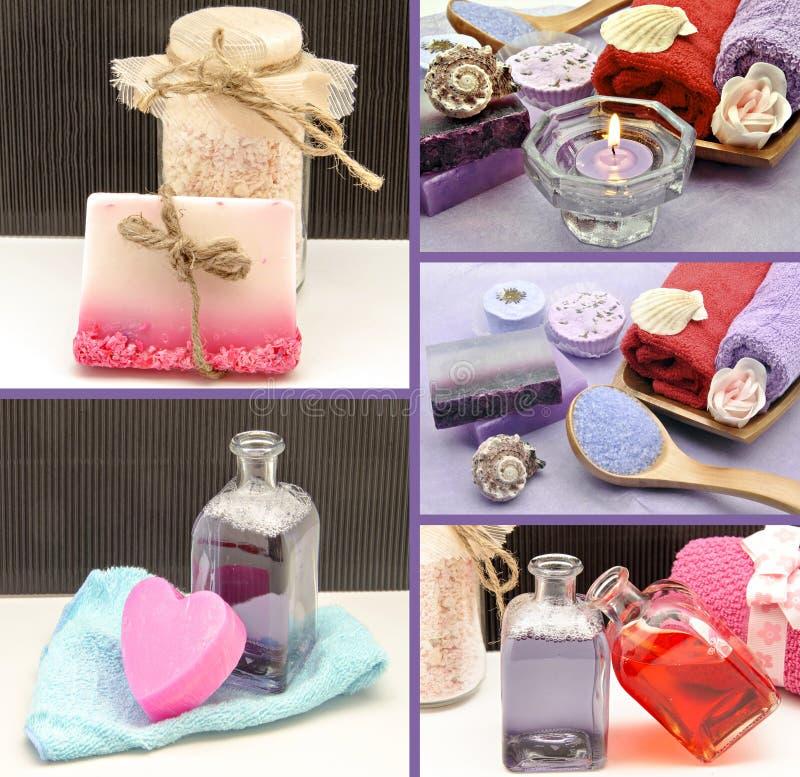 Collage av parfymerade tvålar arkivfoton