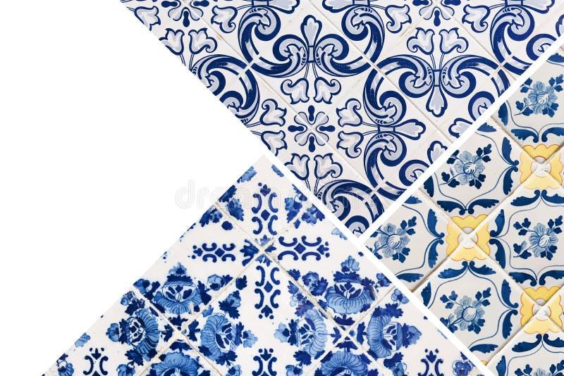 Collage av portugisiska tegelplattor arkivbild