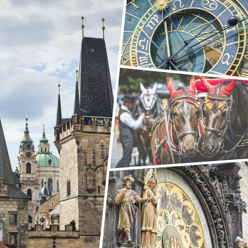 Collage av Prague (kontrollrepubliken) bilder - resa bakgrund royaltyfri foto
