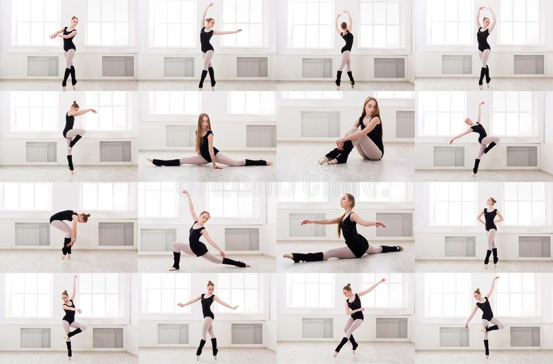 Collage av praktiserande balett för ung kvinna royaltyfri foto