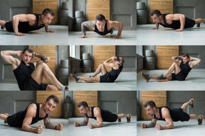 Collage av praktiserande yoga för ung man i idrottshall royaltyfri bild