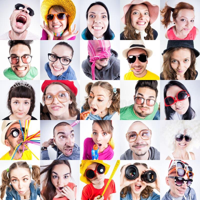 Collage av roliga folkframsidor som ser enfaldiga arkivbilder