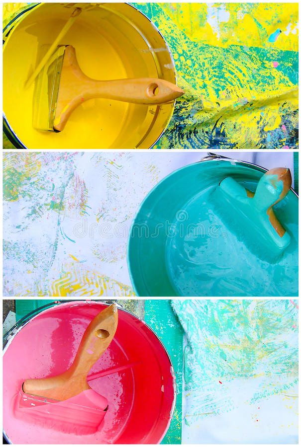 Collage av rosa färg-, guling- och blåttmålarfärgkrukor royaltyfria bilder
