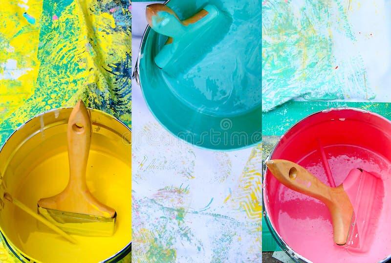 Collage av rosa färg-, guling- och blåttmålarfärgkrukor med borstar, gör det själv, hemförbättringgarneringbegrepp arkivbilder