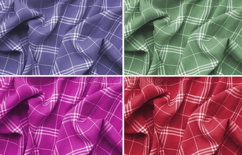 Collage av rosa, purpurfärgat, grönt och rött rutigt plädklädermaterial Slut upp makrosikt intresting m?nstrar av texturerar Skot arkivfoto