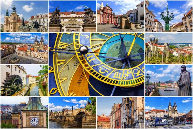 Collage av sikten av Prague för republiktown för cesky tjeckisk krumlov medeltida gammal sikt arkivfoto