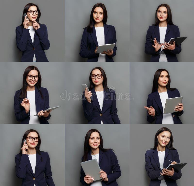 Collage av sinnesrörelser för affärskvinna royaltyfria bilder