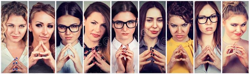 Collage av sluga beräknande kvinnor som konspirerar något arkivbilder