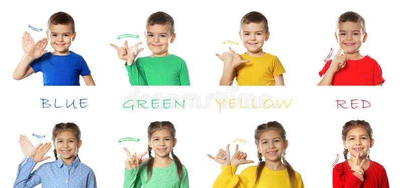 Collage av små barn som visar olika ord Teckenspr?k royaltyfri foto