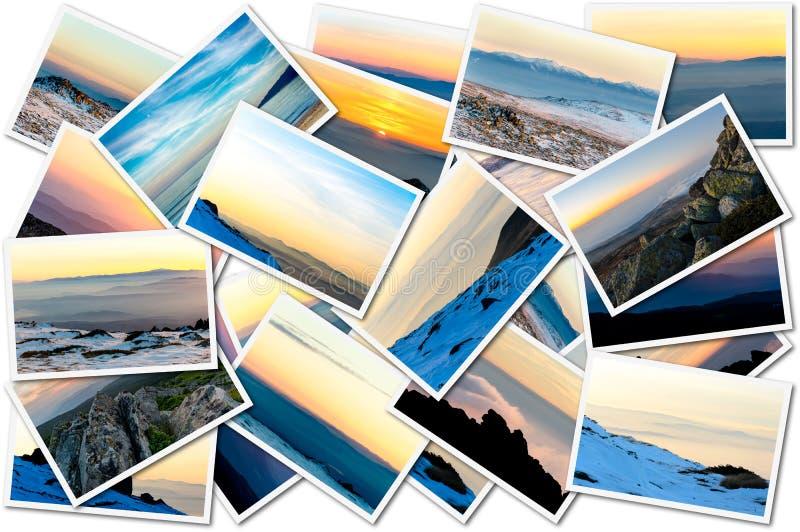Collage av solnedgångfoto royaltyfria bilder