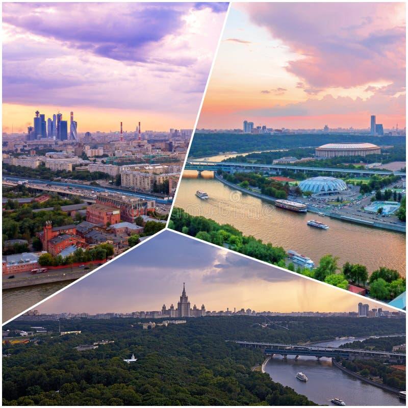 Collage av solnedgångsikter ovanför Moskva med molnreflexioner i stadsfloden och att resa fartyg och bron arkivfoton
