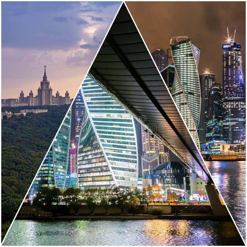Collage av solnedg?ngsikter ovanf?r Moskva med molnreflexioner i stadsfloden och att resa fartyg och bron royaltyfri fotografi