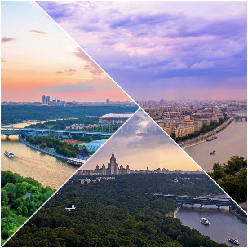 Collage av solnedg?ngsikter ovanf?r Moskva med molnreflexioner i stadsfloden och att resa fartyg och bron royaltyfria foton