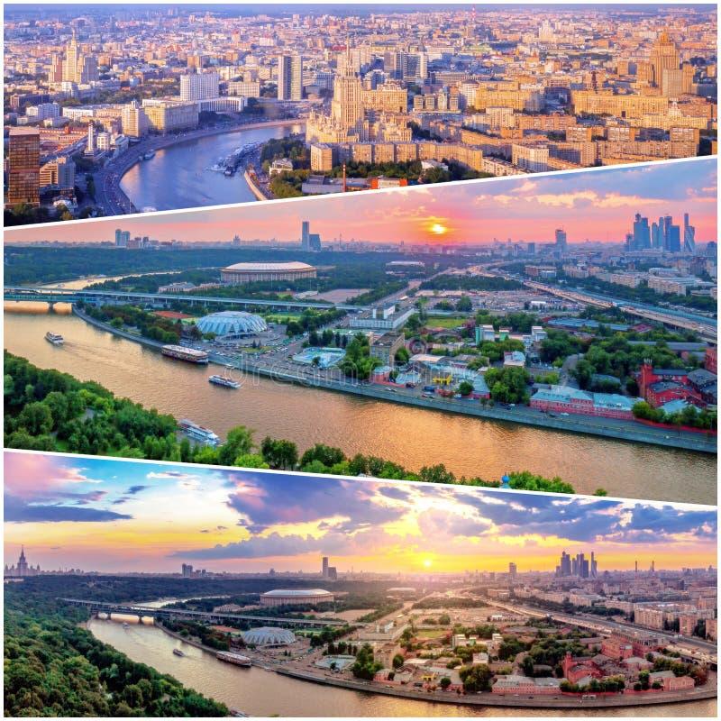 Collage av solnedg?ngsikter ovanf?r Moskva med molnreflexioner i stadsfloden och att resa fartyg och bron arkivbilder