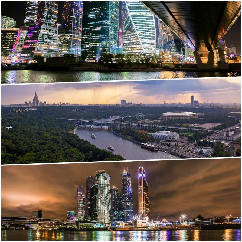 Collage av solnedg?ngsikter ovanf?r Moskva med molnreflexioner i stadsfloden och att resa fartyg och bron fotografering för bildbyråer