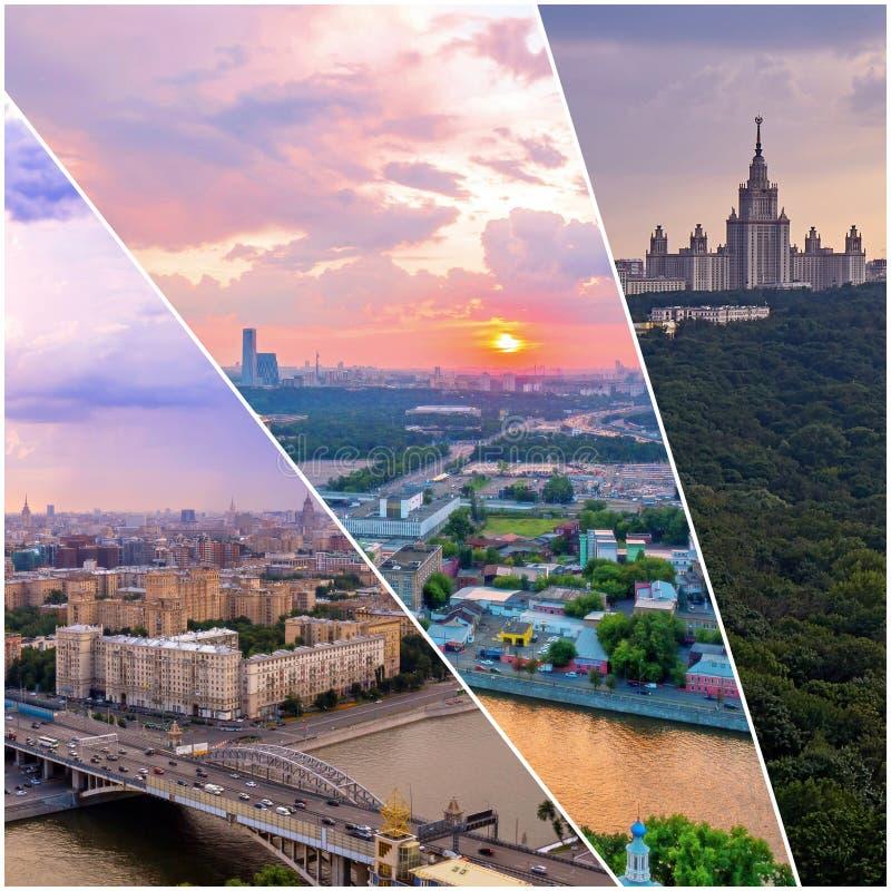 Collage av solnedg?ngsikter ovanf?r Moskva med molnreflexioner i stadsfloden och att resa fartyg och bron royaltyfri foto