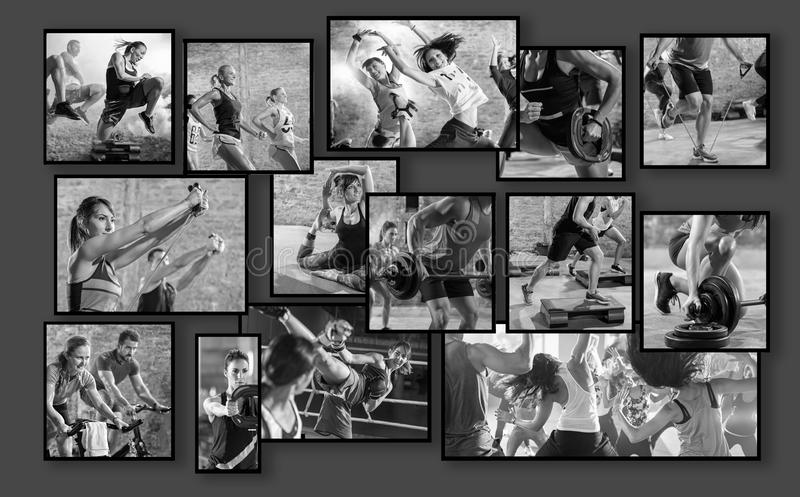 Collage av sportfoto med folk royaltyfria bilder