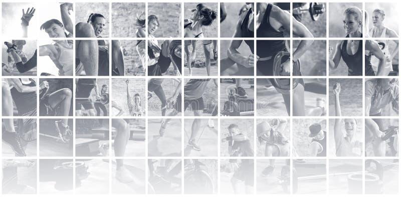Collage av sportfoto med folk royaltyfri bild