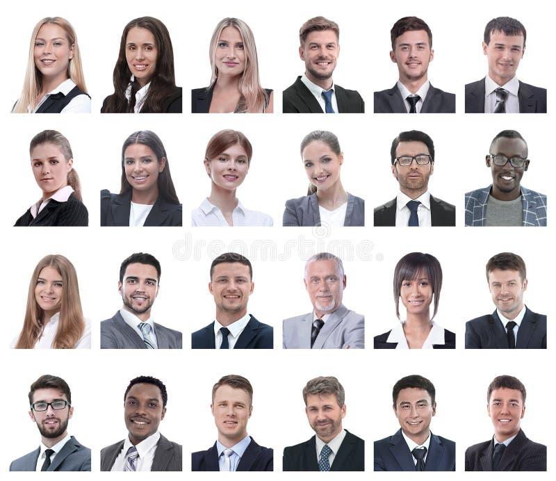 Collage av stående av affärsfolk som isoleras på vit royaltyfri fotografi